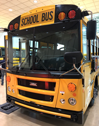 J.W. Speaker LED headlights on school bus for enhanced vision