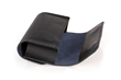 Dynamic Duo Glasses Case — black leather with gray-blue Ultrasuede® lining