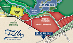 Map of Falls at Imperial Oaks showing location of Holcomb Family YMCA