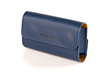 Dynamic Duo Glasses Case—thick blue, full-grain leather