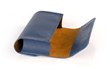 Dynamic Duo Glasses Case — blue leather with cumin Ultrasuede® lining