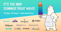 MSP Summer Treat Wave 2019 co-sponsored by Auvik Networks, Axcient, Barracuda MSP, bvoip, Channel Futures, ID Agent, Liongard, Managed Sales Pros, NETGEAR, and SolarWinds Passportal.