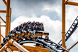 Four-time Super Bowl Champion Mike Wagner braces himself on The Steel Curtain roller coaster at Kennywood Park on July 12, 2019.
