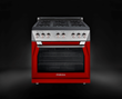 The Forza 30- and 36-inch pro-style gas ranges are offered in stainless steel or six bold color options. Shown: 36-inch gas range in red.