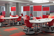 Colorful Celtec panels offered by Loftwall, brighten offices and allow custom branding.