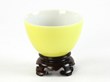 Chinese lemon yellow-glazed porcelain teacup with white glazed interior,