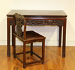 19th-century Chinese hardwood carved desk and chair. Acquired by a collector from Frank Caro Gallery, the successor to C. T. Loo & Co.
