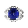 Sapphire Ring by Jeffrey Bilgore. 9.30 ct. unheated Burmese sugarloaf sapphire, with diamonds, set in platinum.