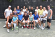 Some of the more than 40 enthusiastic tennis players who attended Calvary's event this year.