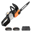 WORX 40V, 14 in., Power Share Chainsaw comes with two, 20V, MAX Lithium, 2.0 Ah batteries and dual-port charger.