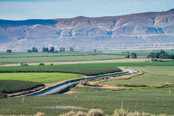 A canal flowing through agricultural land.