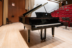 One of the Metropolitan Opera's Yamaha pianos in a performance space at the Met in Manhattan.