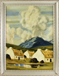 Paul Henry signed, inscribed 'Cottages Connemara', oil on canvas
