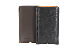 Executive Leather iPhone Sleeve — full-grain brown cow leather or pebbled bison leather