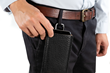 Executive Leather iPhone Sleeve — attaches to belt loop or strap with optional carbiner