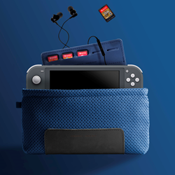 Switch Lite Slip Case—in cobalt blue LUNA textile with Nonotex water-resistant coating