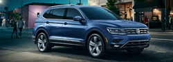 Blue 2019 VW Tiguan parked on a city street