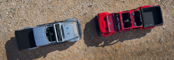 two 2020 Jeep Gladiator models viewed from above
