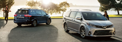 two 2020 Toyota Sienna models parked on pavement