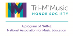 purple teal and yellow Tri-M Music Honor Society logo