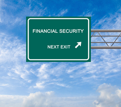 highway sign with text that says financial security next exit