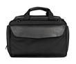 Air Duffel airline personal item — black ballistic nylon with full-grain black leather