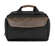 Air Duffel in-flight personal item — black ballistic nylon with full-grain chocolate leather