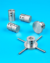 "Available in aluminum, steel, and stainless steel, these Machinable Shaft-End Adapters come in 11 standard bore sizes from 0.5"" to 2.0"" I.D."