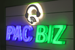 Pac Biz's illuminated logo greets visitors when they come into the receiving area of the new Pac Biz office