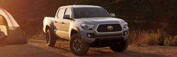 Gray 2019 Toyota Tacoma on a Trail