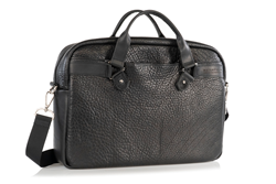 Executive Leather Laptop Briefcase — — with leather handles, removable shoulder strap, and suitcase handle passthrough
