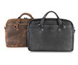 Executive Leather Laptop Briefcase — chocolate full-grain leather or black American Bison leather