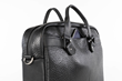 Executive Leather Laptop Briefcase — black American Bison leather, front quick-access pocket