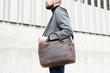Executive Leather Laptop Briefcase — — chocolate full-grain cowhide with removable shoulder strap