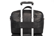 Executive Leather Laptop Briefcase — wheeled suitcase passthrough for convenient transport