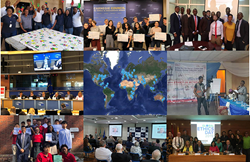 L to R from top row: Global Ethics Day participants in South Africa, Carnegie Council in New York, Gambia, ACCA & CFA Institute in Belgium, Map of 2019 participants, Nigeria, New York, Brazil, & Spain