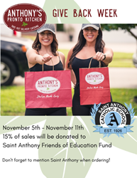 Great Food & Community Service in Fort Lauderdale: Anthony's Pronto Kitchen Is Giving Back 15% of Sales to Saint Anthony Catholic School Nov. 5-11th