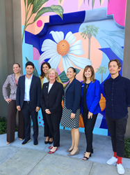 Lori Ann Farrell-Harrison, City Manager; Tyler Mateen, Triangle Square; Councilmember Reynolds, Mayor Foley and Councilmember Marr; Paulette Lombardi-Fries, Travel Costa Mesa; Artist Aaron Glasson