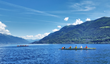 Swiss Alps loom in background of Lake Maggiore