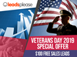 LeadsPlease Veterans Day 2019 Special Offer - $100 Free Sales Leads