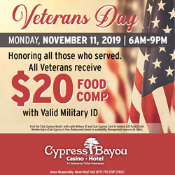 Cypress Bayou Casino Hotel offering free $20 food credit to veterans, active military in honor of Veterans Day