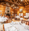 The historic Dining Hall is the gathering place for the all-included gourmet meals prepared by Brooks Lake Lodge's Executive Chef Whitney Hall.