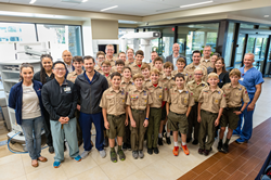 Plano high school students and Boy Scouts along with their Robotic Day training team led by Dr. Coronado at Medical City Plano.