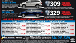 Atlantic Honda Black Friday Online Ad featuring 2020 Honda Pilot 2020 Honda Odyssey and a list of pre-owned vehicles