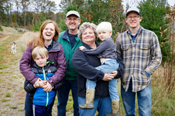The New family gathered together on their Tree Farm in Washington