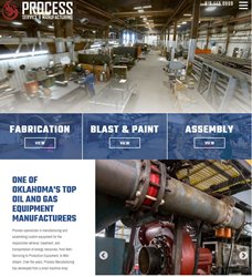 Photo of website home page showing manufacturing equipment and workers
