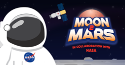 Tynker Moon2Mars Logo with Astronaut on Lunar Surface