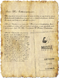 A graphic rendering of an actual letter, with the contents of Muscle Shocker creators open letter to Arnold Schwarzenegger