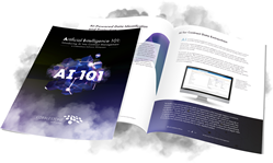 "CobbleStone Software's ""AI 101: Introducing Artificial Intelligence Into Contract Management"" whitepaper cover and spread."
