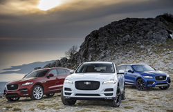 Three 2019 Jaguar F-Pace cars parked on the sand